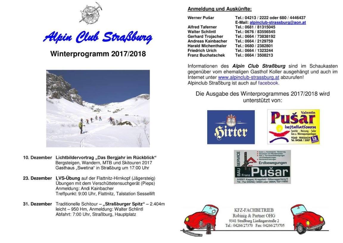 Winterprogramm AlpinClub